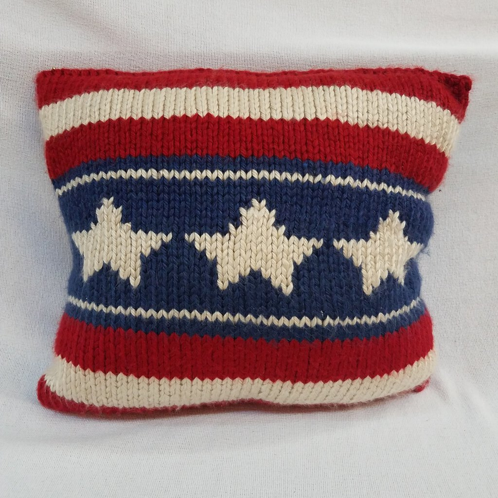 Knitted Red White & Blue Pillow --33PM