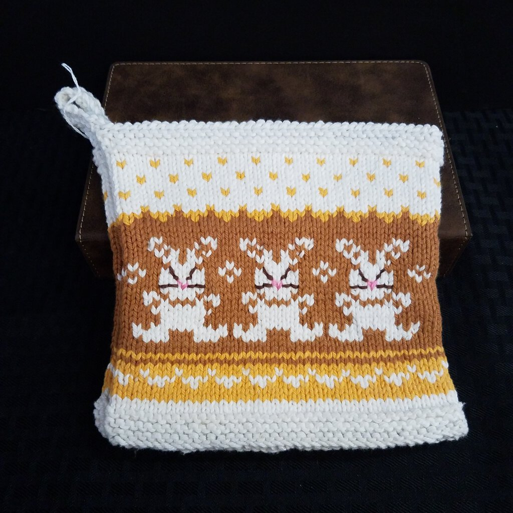 Knitted Pot Holder Set with Eater Bunny's