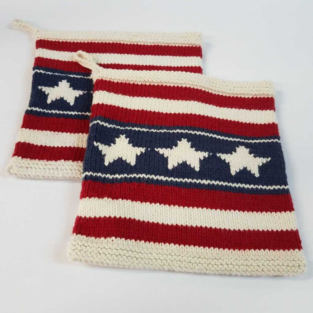 Knitted Pot Holder Sets with American Flag Design
