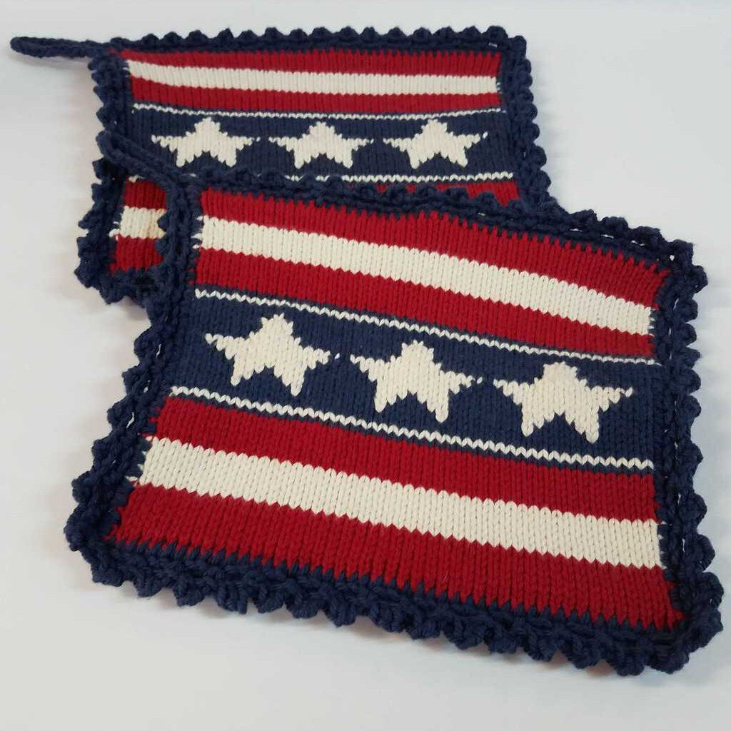 Knitted Pot Holder Set in Blue American Flag Design