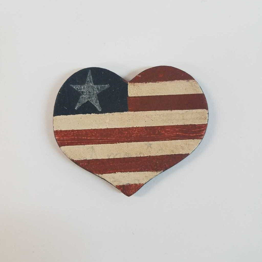 Heart Shaped American Flag Magnet