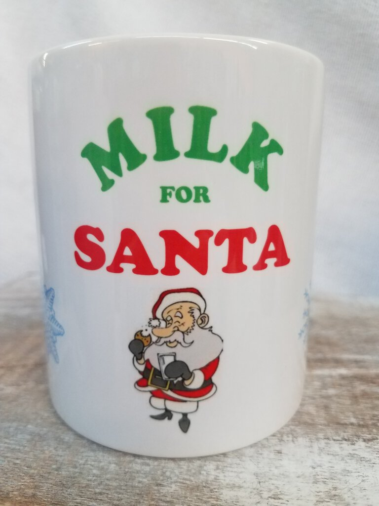 "Pre Sublimated ""Milk for Santa""  11 oz. White Mug"
