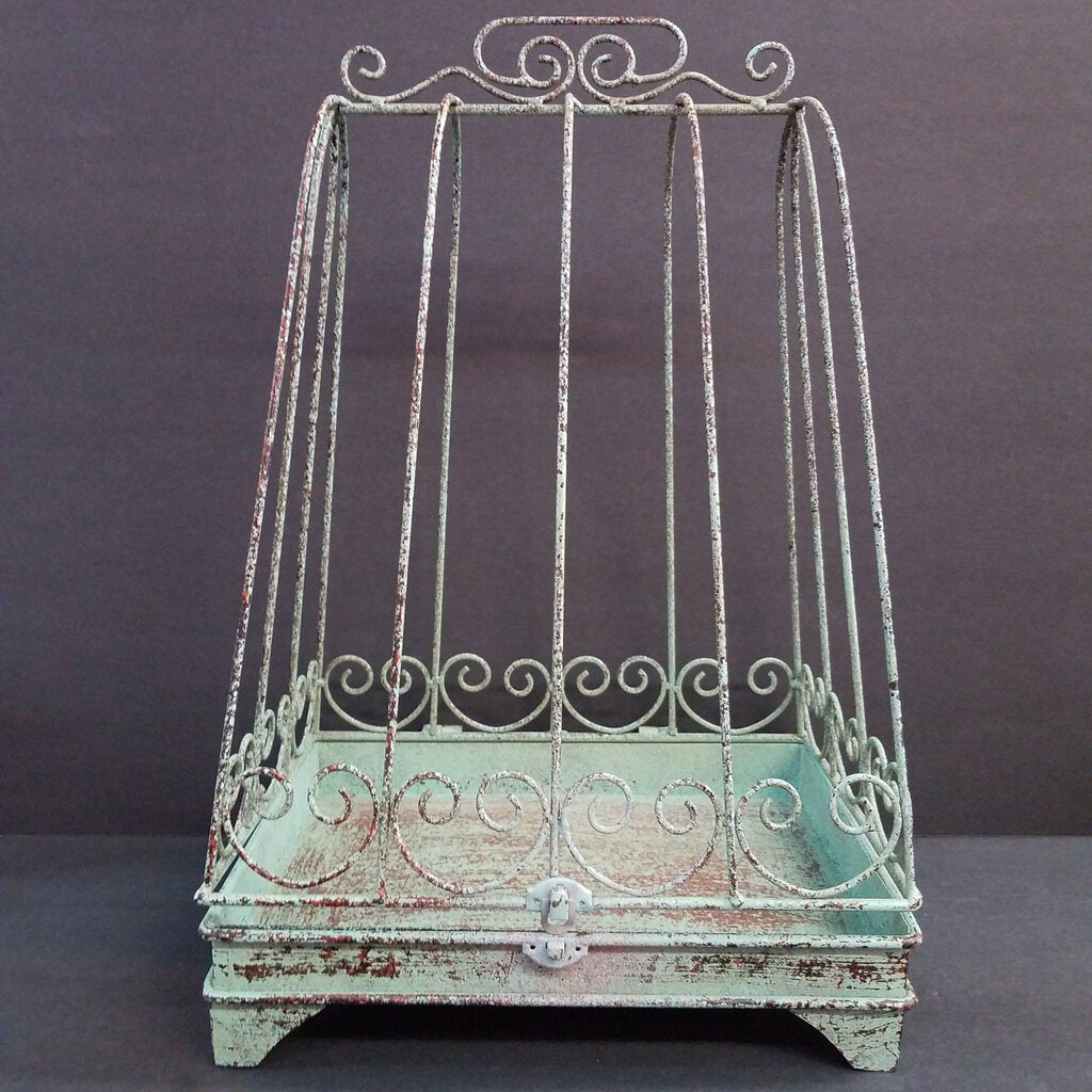 Rustic Teal/Green Birdcage Decor