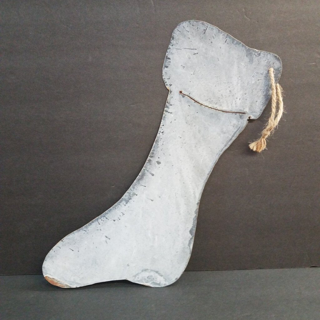 "Metal Stocking Decor ""Nice"""