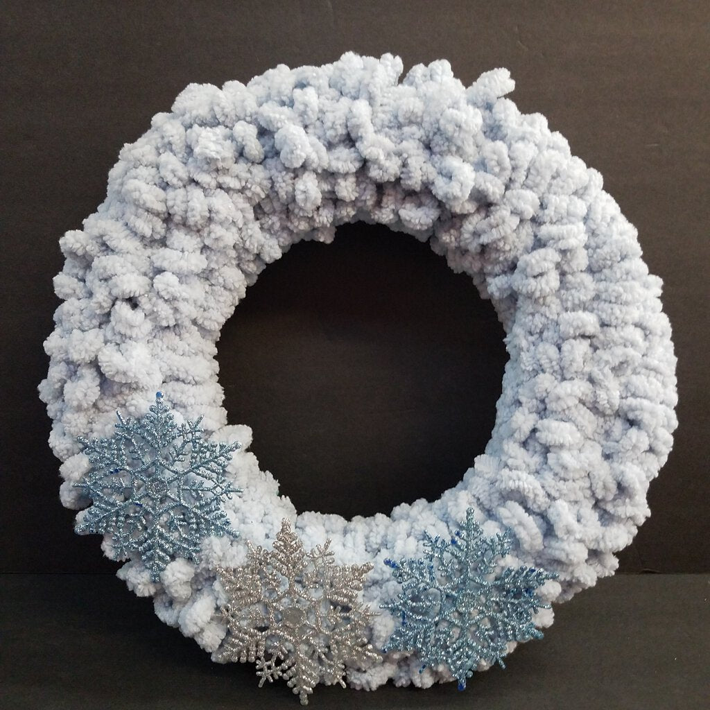 Winter Blue Wreath with Glitter Snowflakes