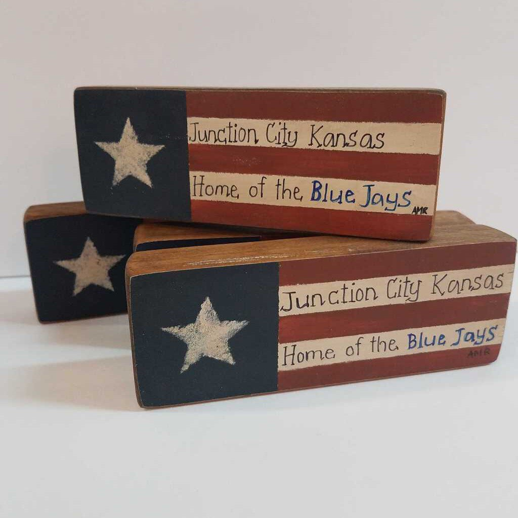 Handmade & Painted Mini Wood Block with Junction City Flag Home Blue Jay's