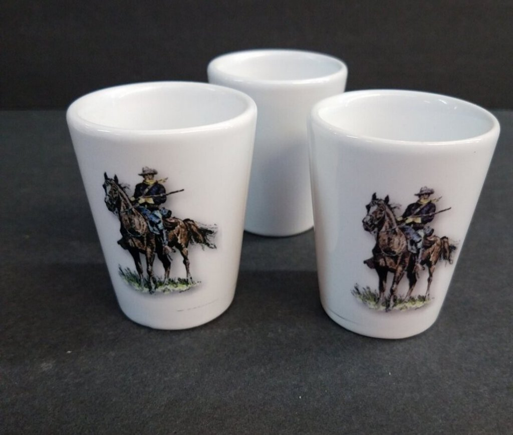 1 1/2 Pre- Sublimated White Shot Glass with the picture of Old Bill