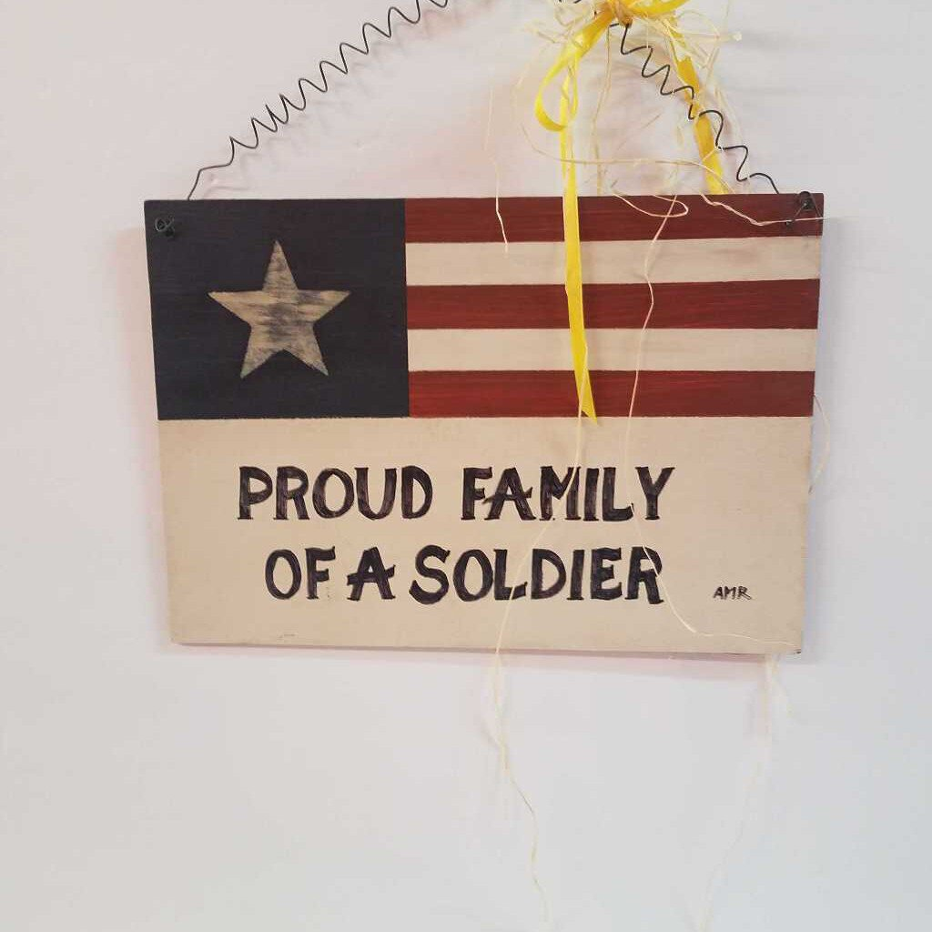Hanging Proud Family of a Solider Wood Sign