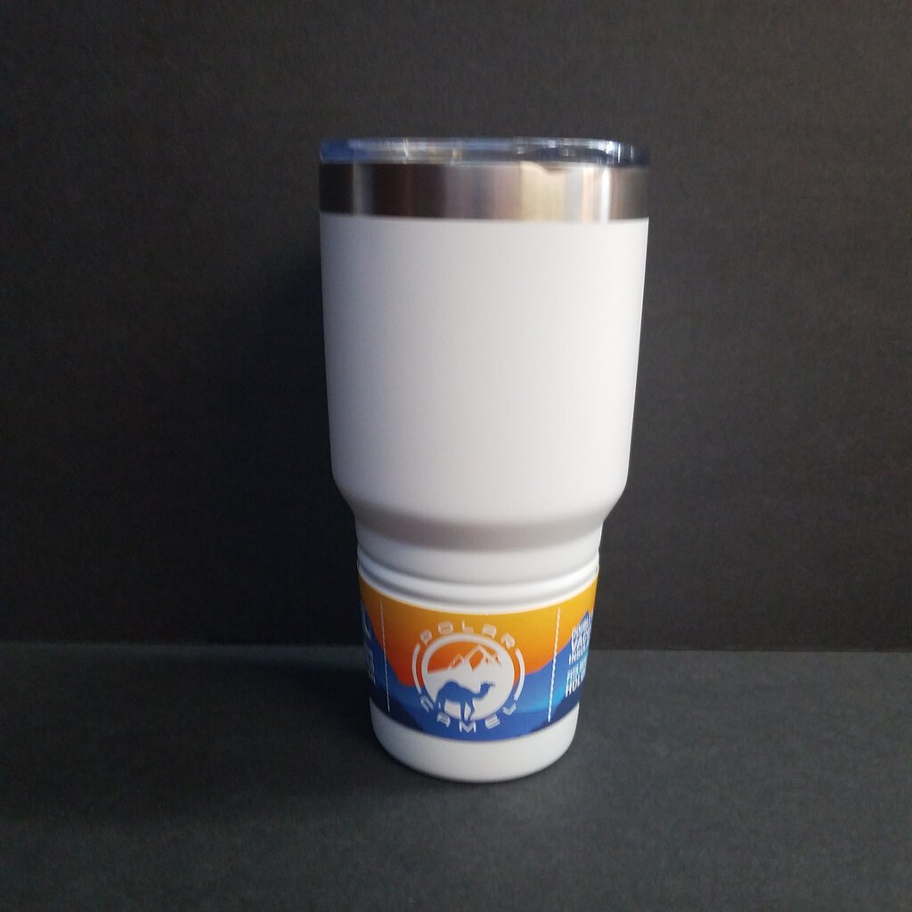 30 oz Polar Camel White Tumbler w/Clear Lid