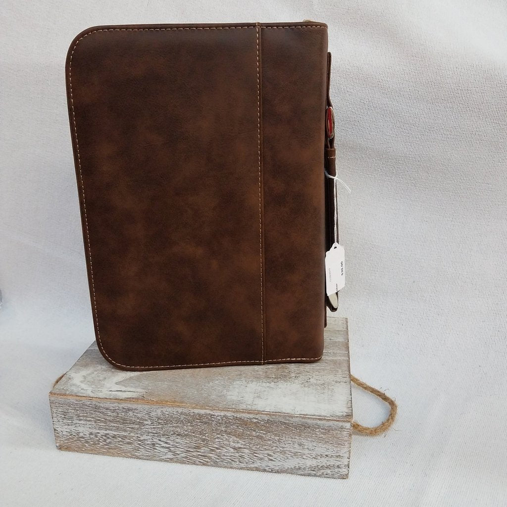 Rustic/Gold Leatherette Book/Bible Cover with Handle & Zipper