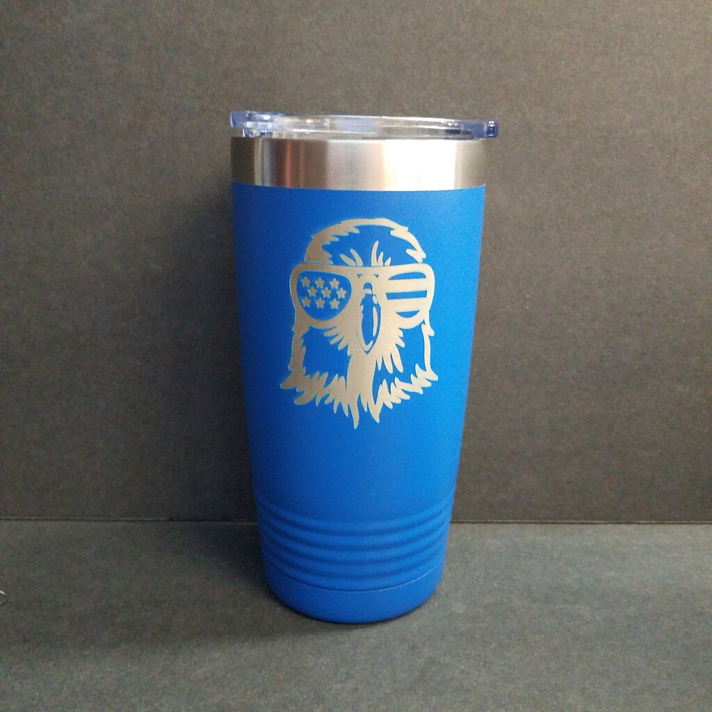 """Eagle Face with Shades and Flat Hair"" 20 oz. Royal Blue"