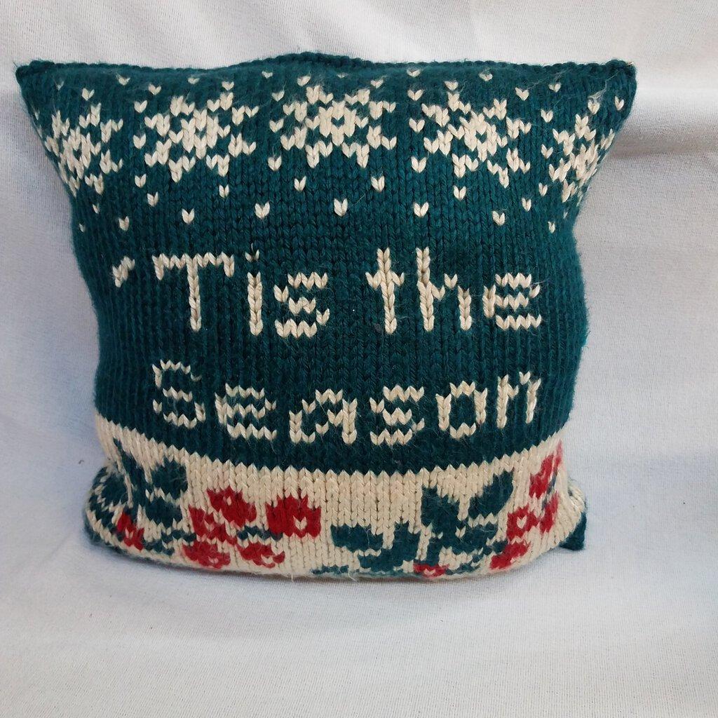 """Tis The Season"" Knitted Square Shaped Holiday Throw Pillow"