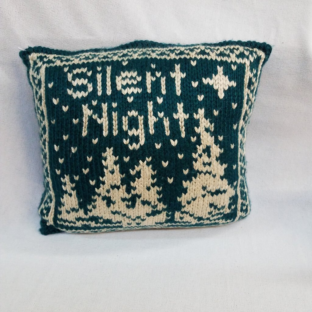 """Silent Night"" Knitted Square Shaped Holiday Throw Pillow"