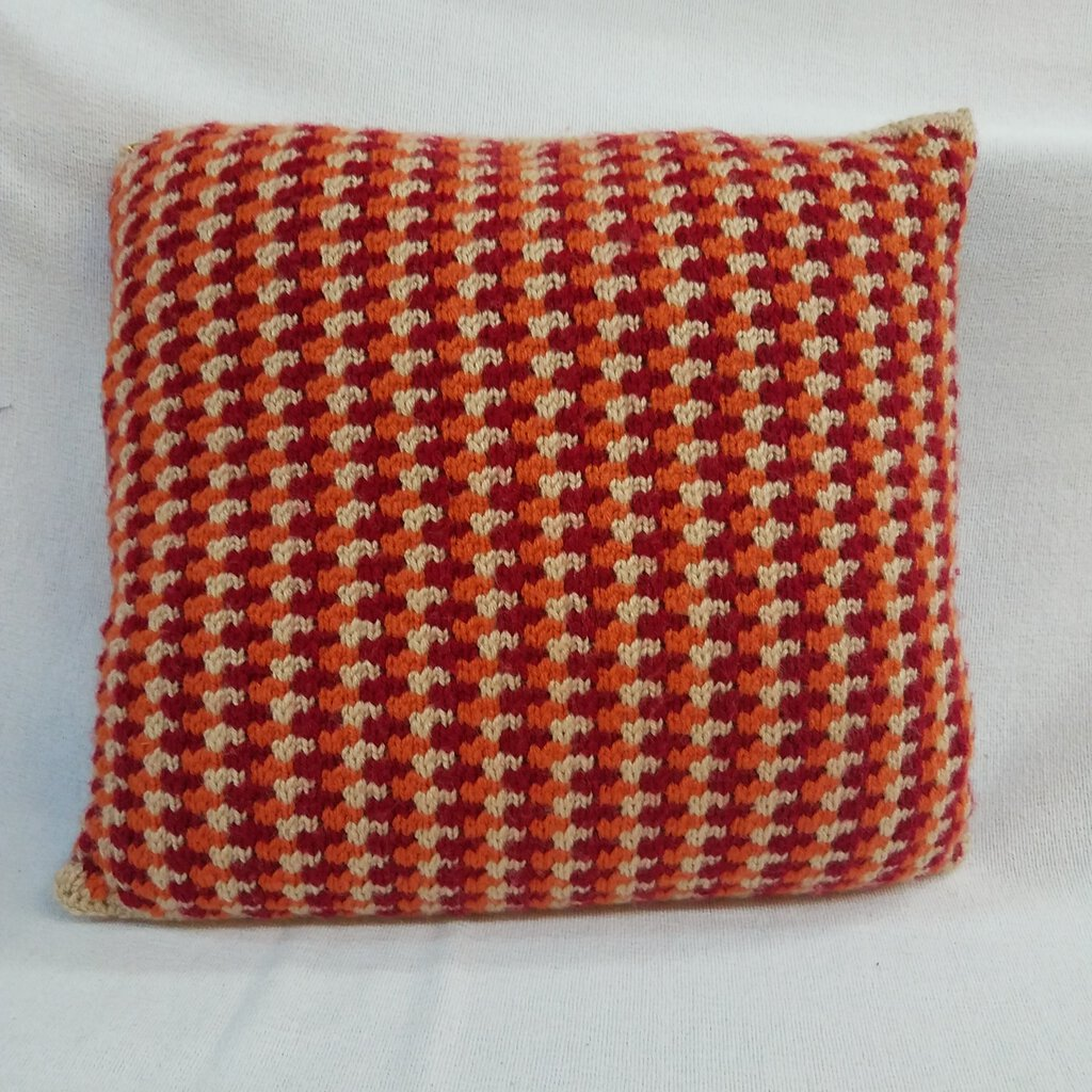 """Checkered"" Knitted Square Throw Pillow"