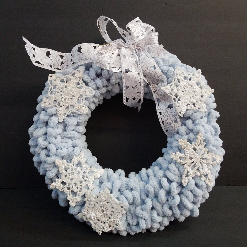 Winter Blue Wreath with Snowflakes & Ribbon