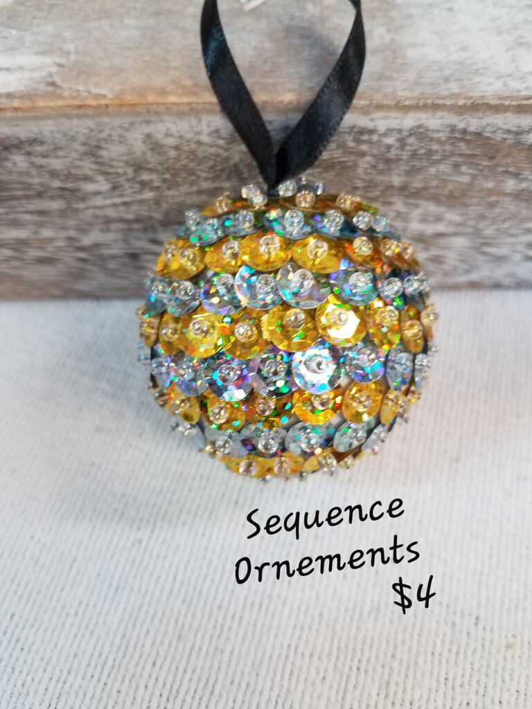 Sequin Rhinestone Gold & Silver Ornament