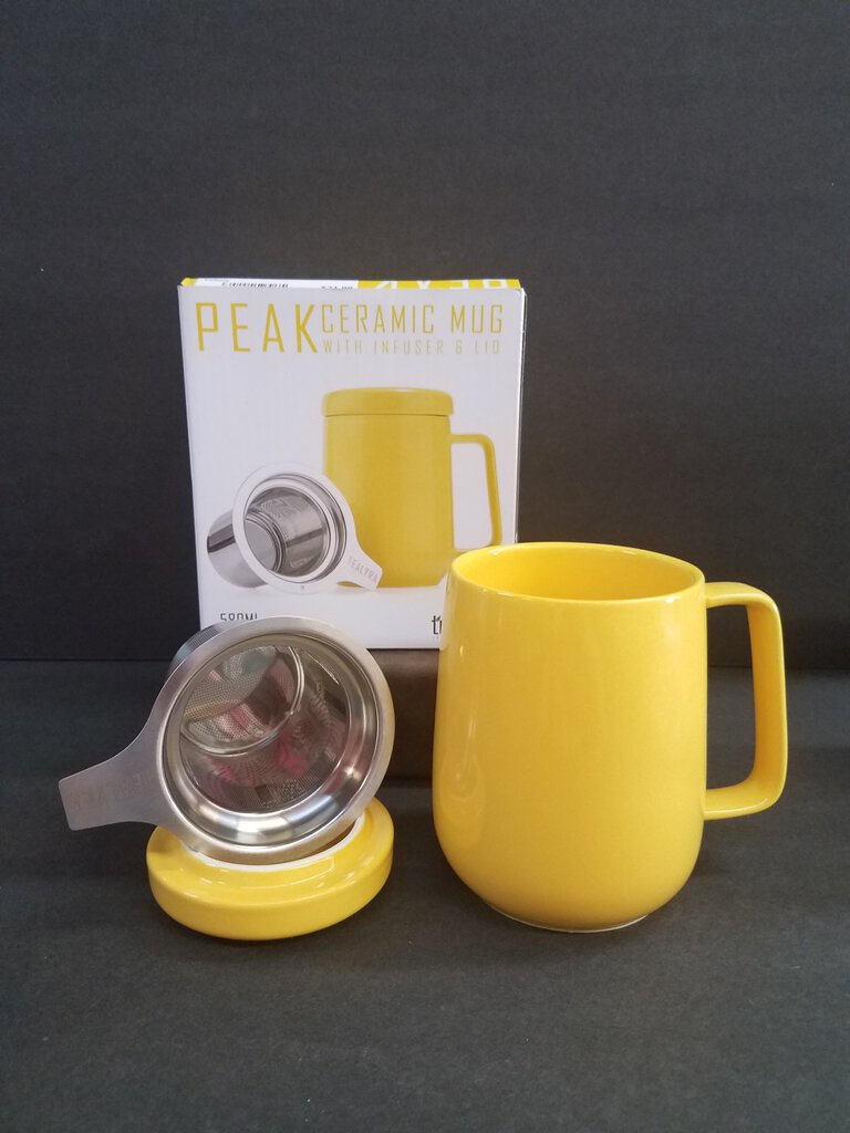 Tealyra Peak Ceramic Mug with Infuser & Lid