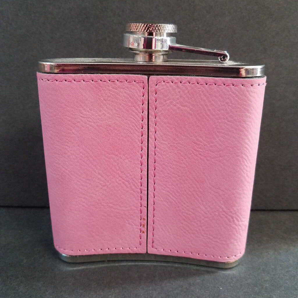 6 oz Whiskey Bent Pink Leather Wrapped Flask