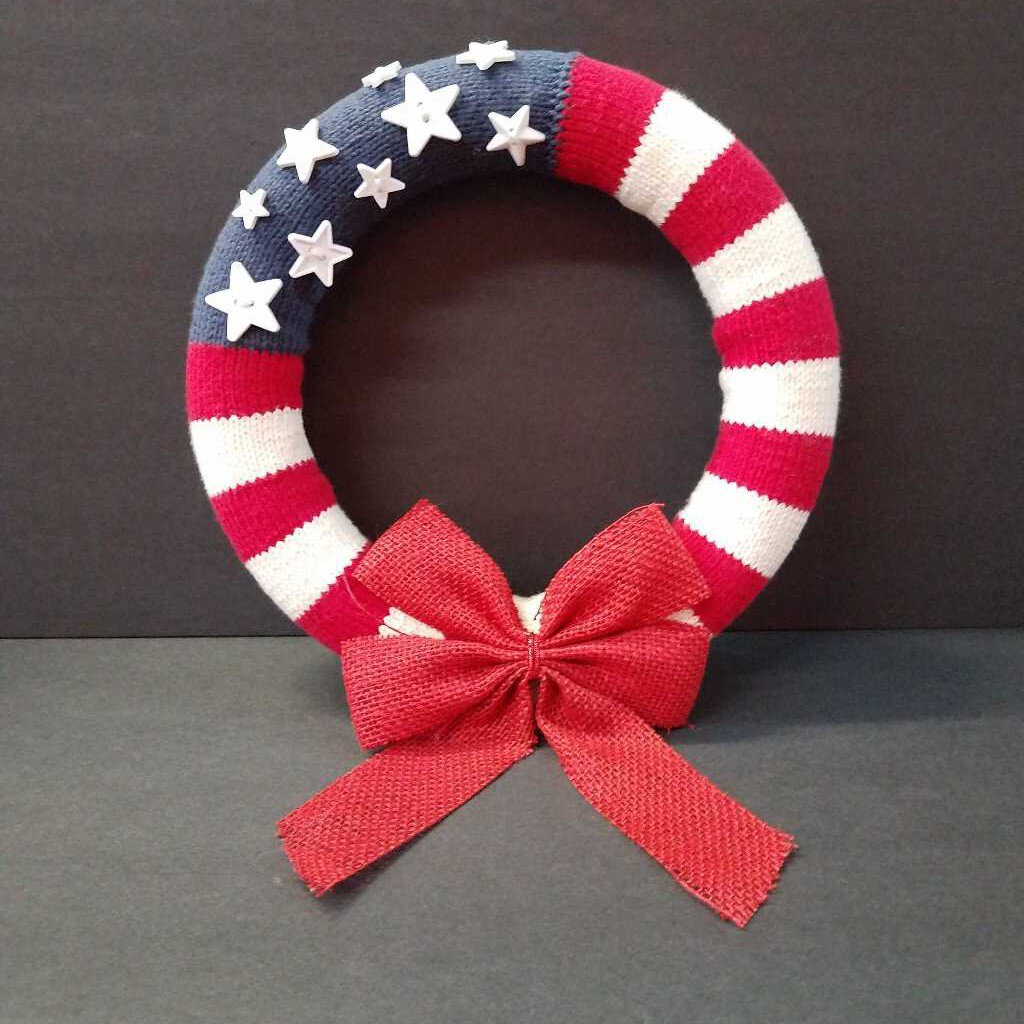 Knitted USA Wreath