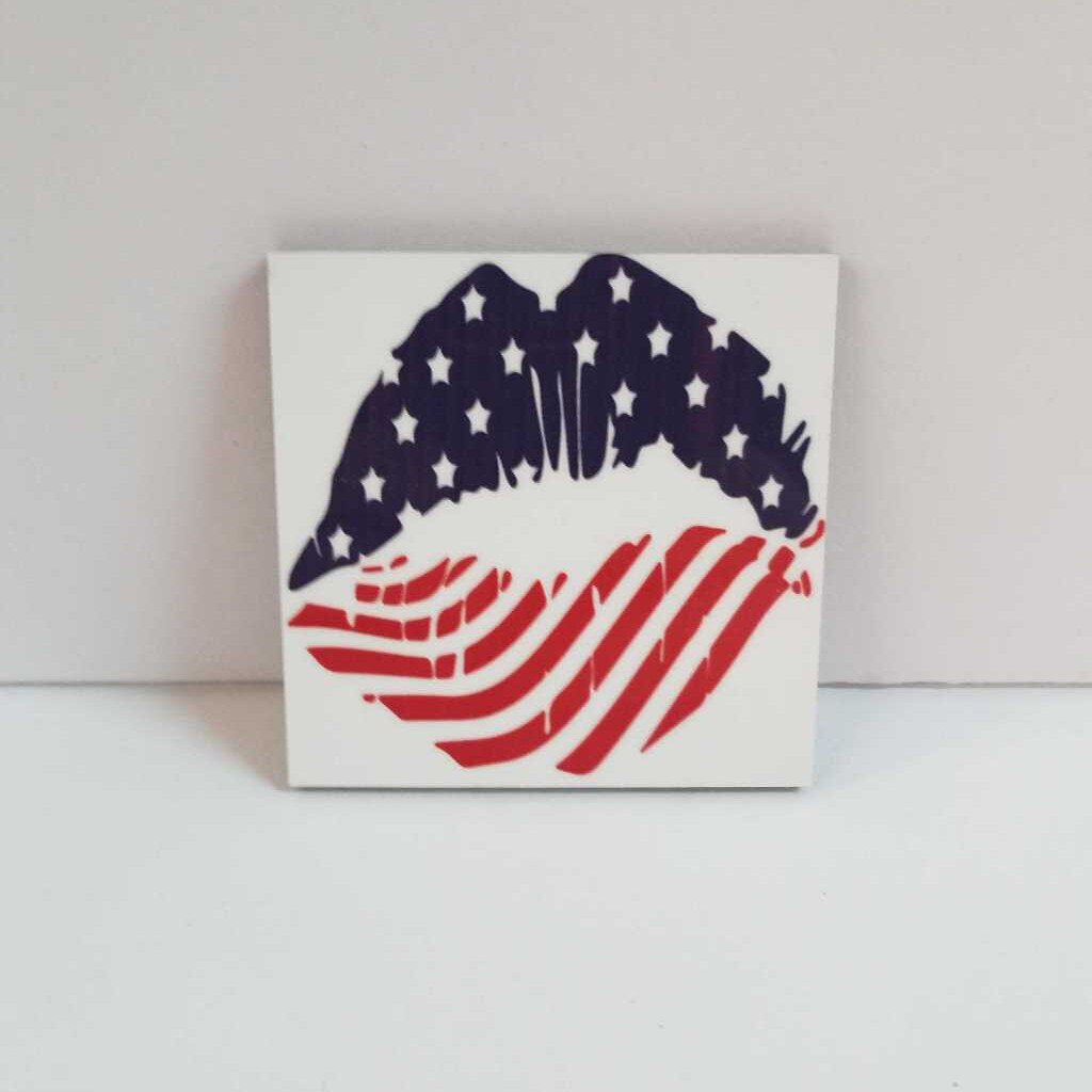 USA Lips Square Magnet