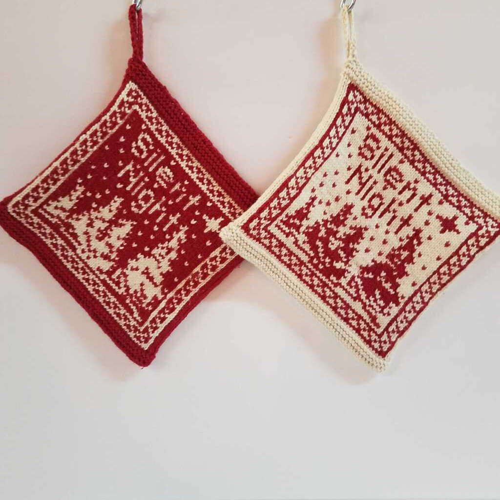 Red & Cream Knitted Pot Holder Set Designed with Silent Night
