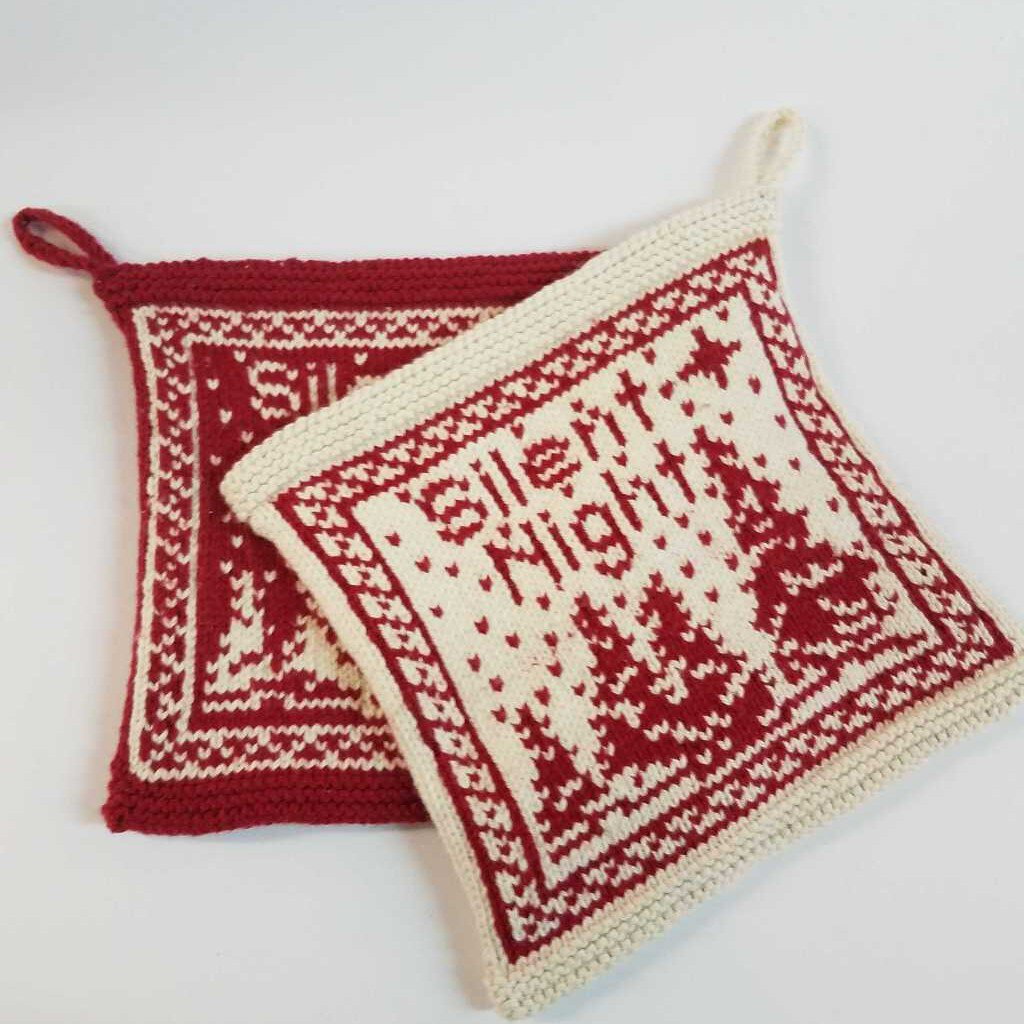 "Red & Cream Knitted Pot Holder Set ""Silent Night"""
