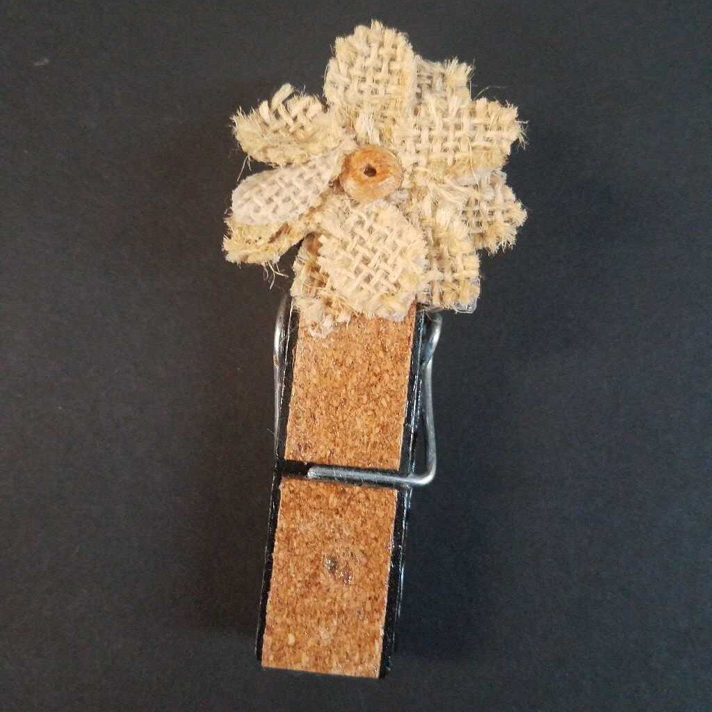 Burlap Flower Cloth Pin Magnet