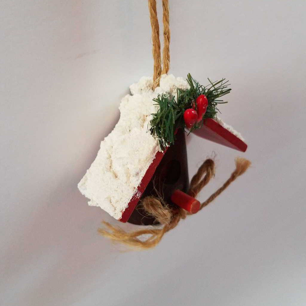 Handmade Wood Bird House Ornament