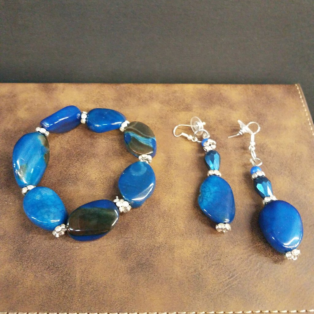 2 Pc Set Bracelet and Earring Blue
