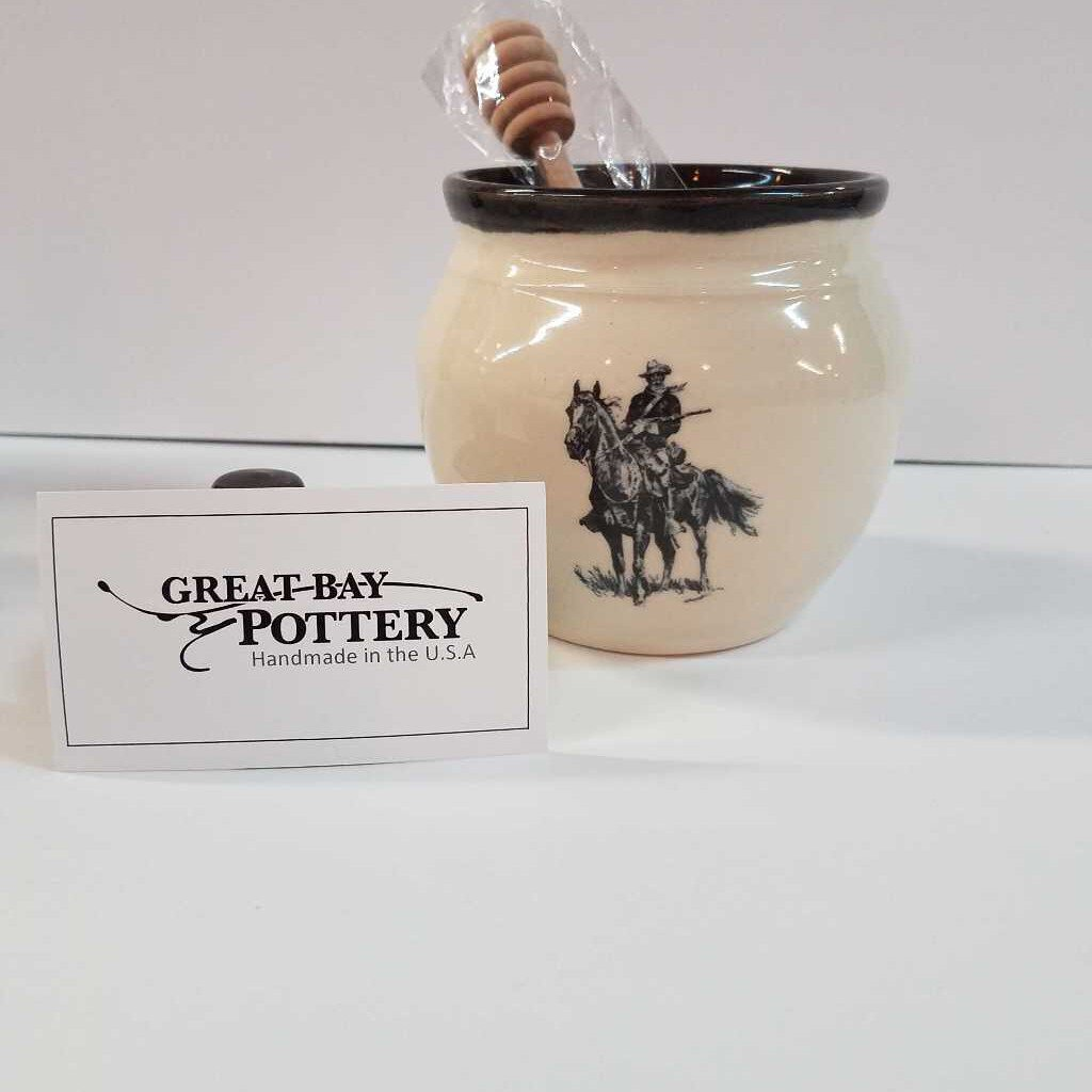 """Old Bill"" Pottery Honey Pot with Stir Stick"