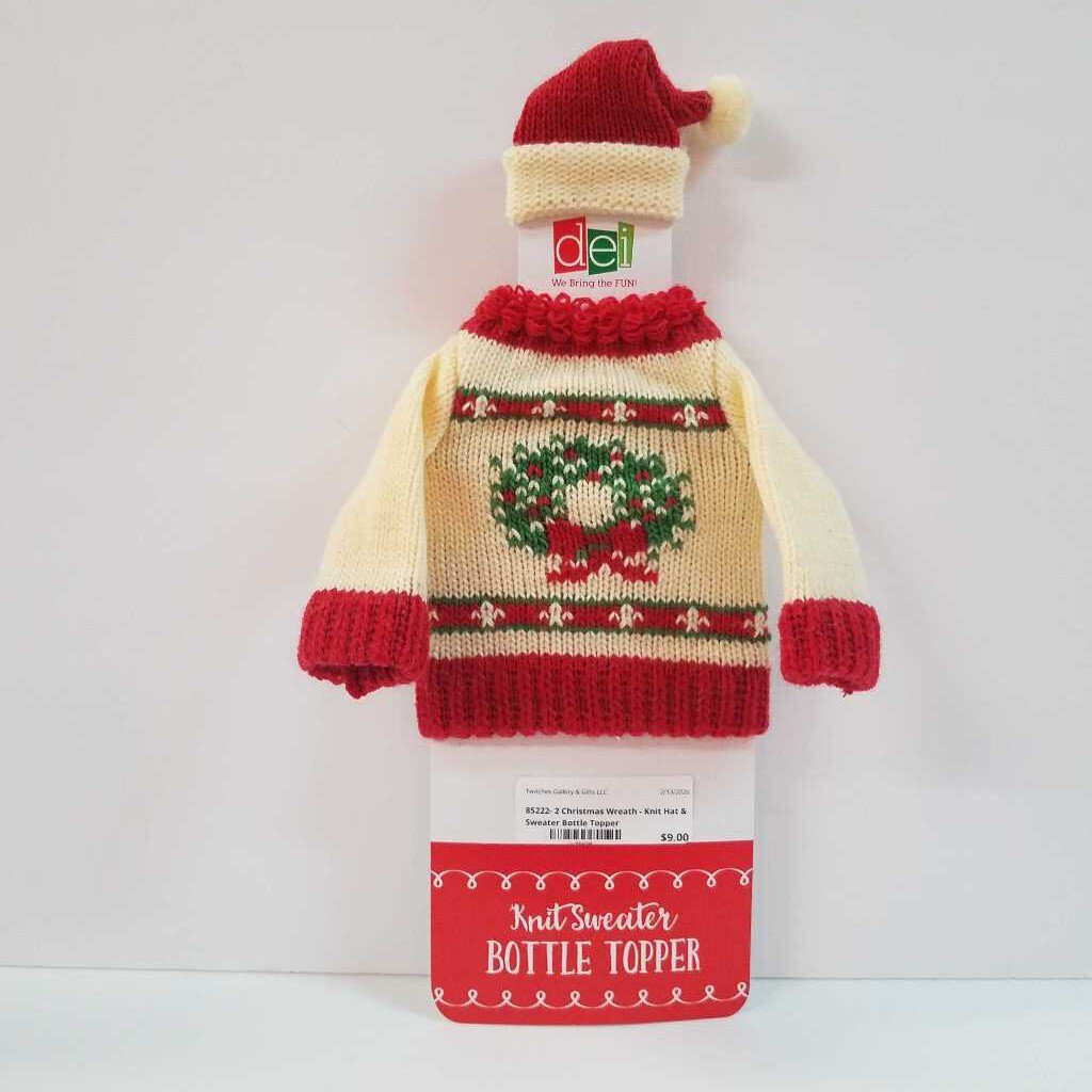 85222-2 Christmas Wreath Knitted Hat & Sweater Wine Bottle Toppers