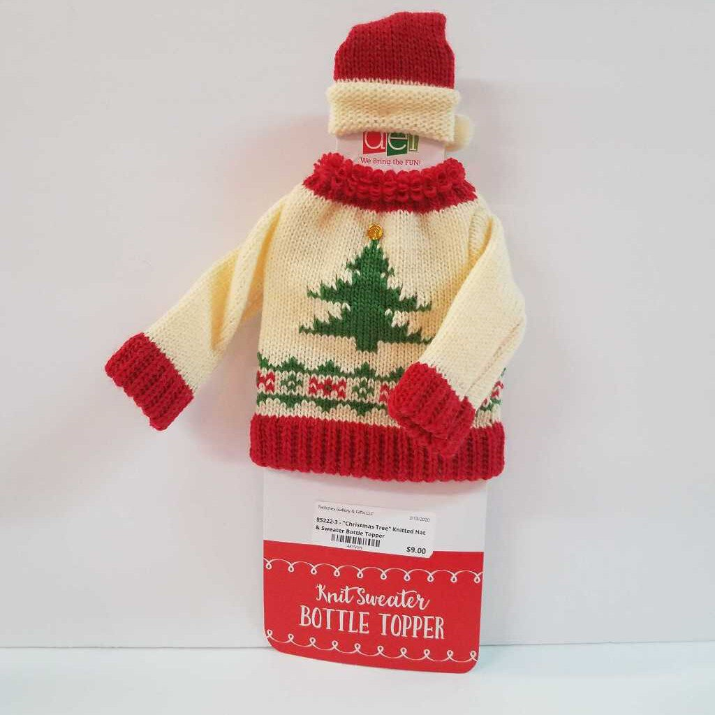 "85222-3 - ""Christmas Tree"" Knitted Hat & Sweater Wine Bottle Toppers"