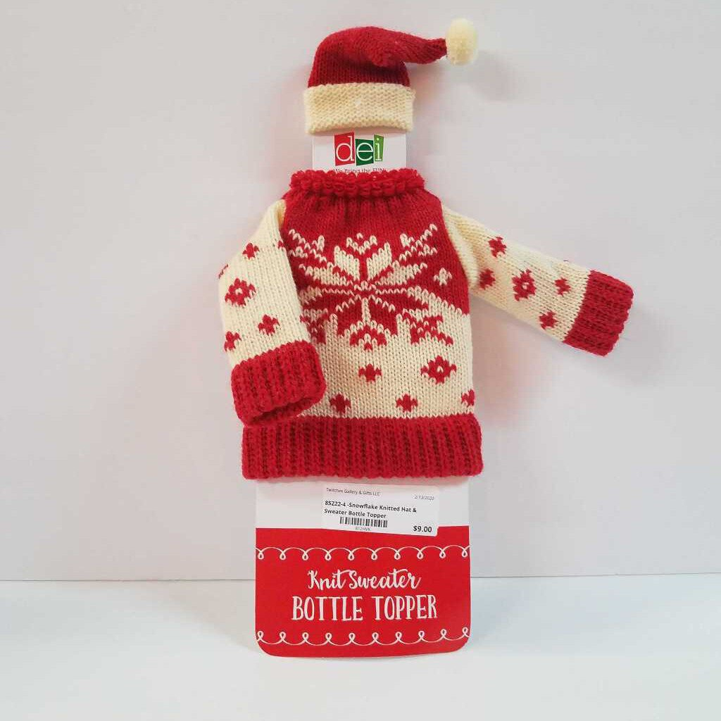 "85222-4 - ""Snowflake"" Knitted Hat & Sweater Wine Bottle Topper Decor"