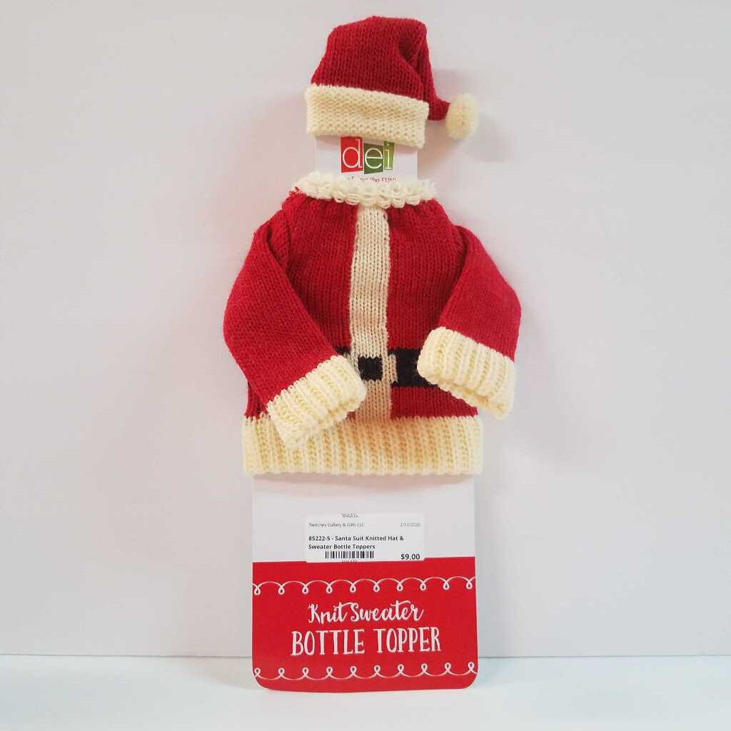 "85222-5 - "" Santa Suit"" Wine Bottle Knitted Hat & Sweater Decor"