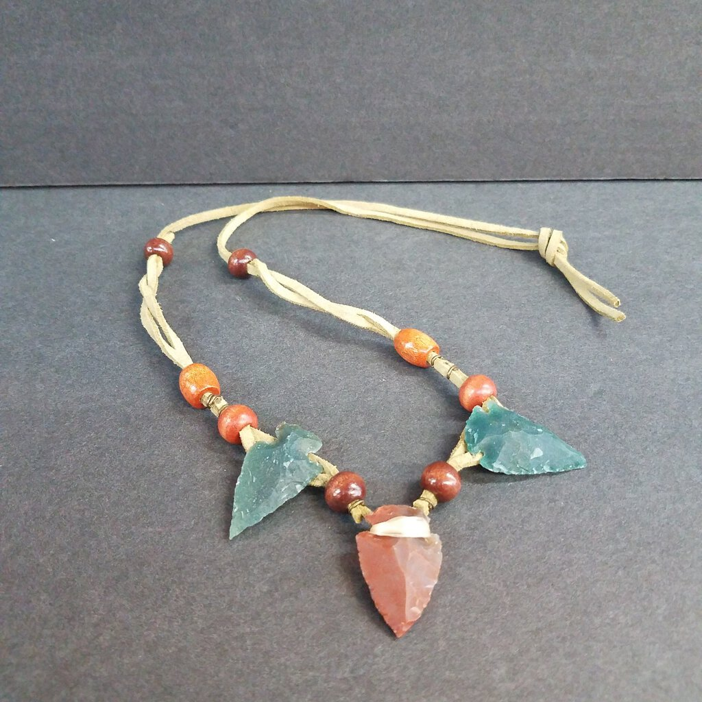Suede Leather Triple Arrowhead Necklace