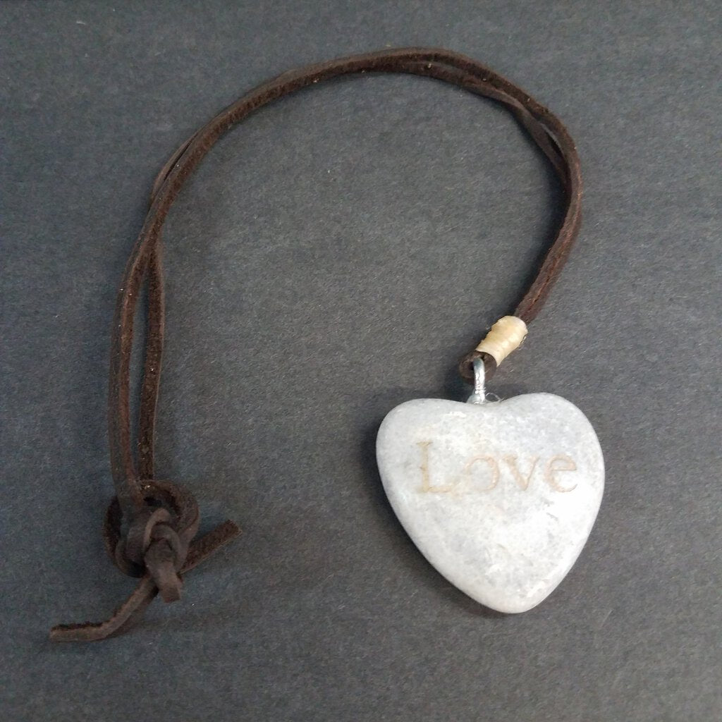 Leather Wrap Necklace with Heart Stone with Words Etched into it.