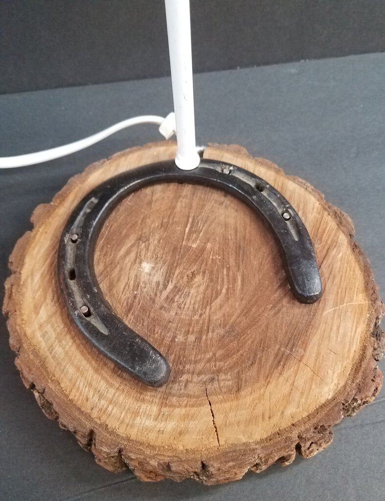 Hand Crafted Horseshoe Lamp with Lamp Shade