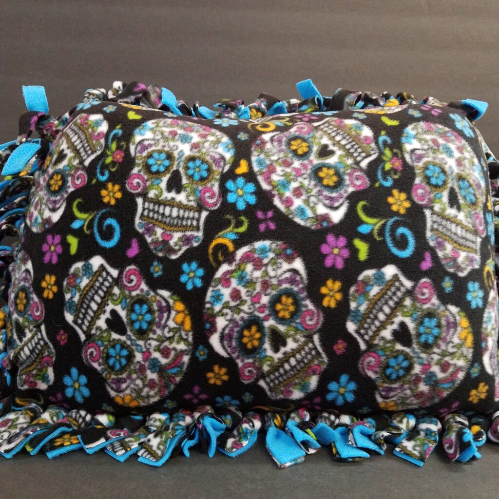 Blue Sugar Skull Fleece Pillow