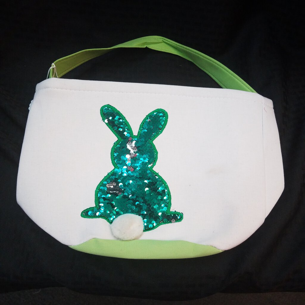 "Sequin ""Green Bunny"" Easter Basket Tote"