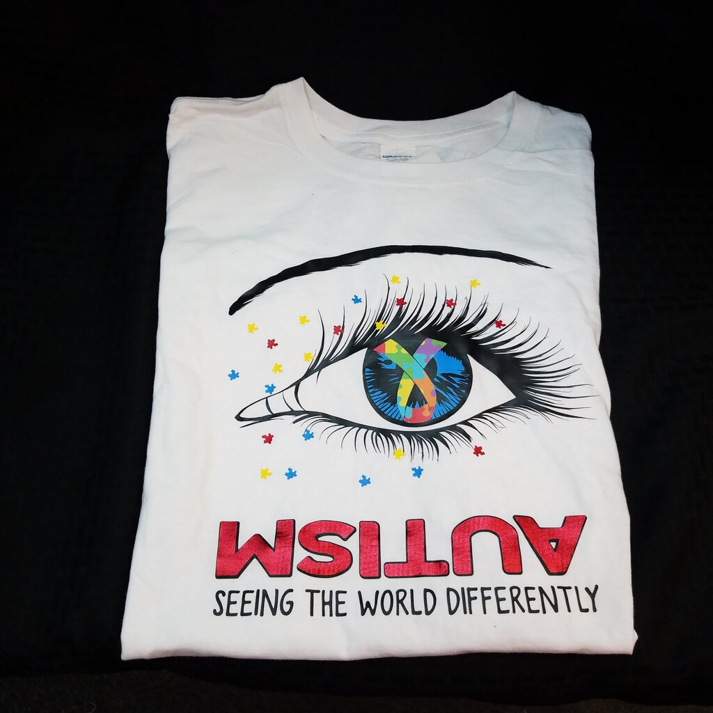 Autism Seeing the World Differently White Neutral Large White Shirt