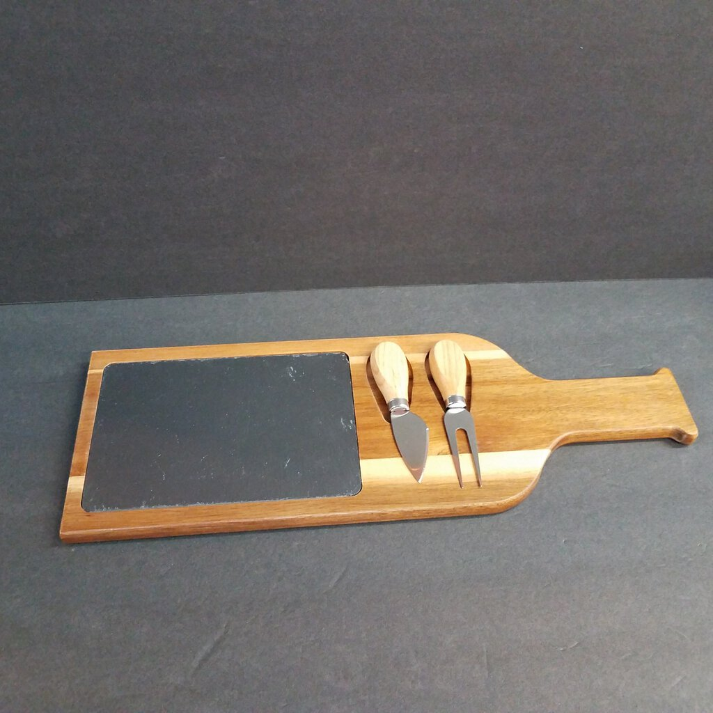 Acacia Wood with Slate Cutting Board with 2 Cutting Tools --SLT081