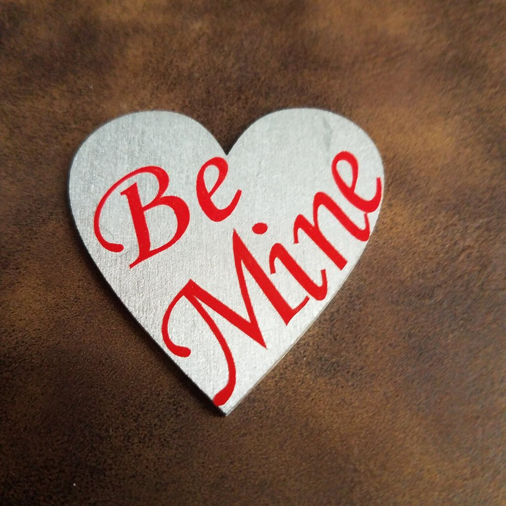 Small Silver Wooden Hearts with Vinyl Words