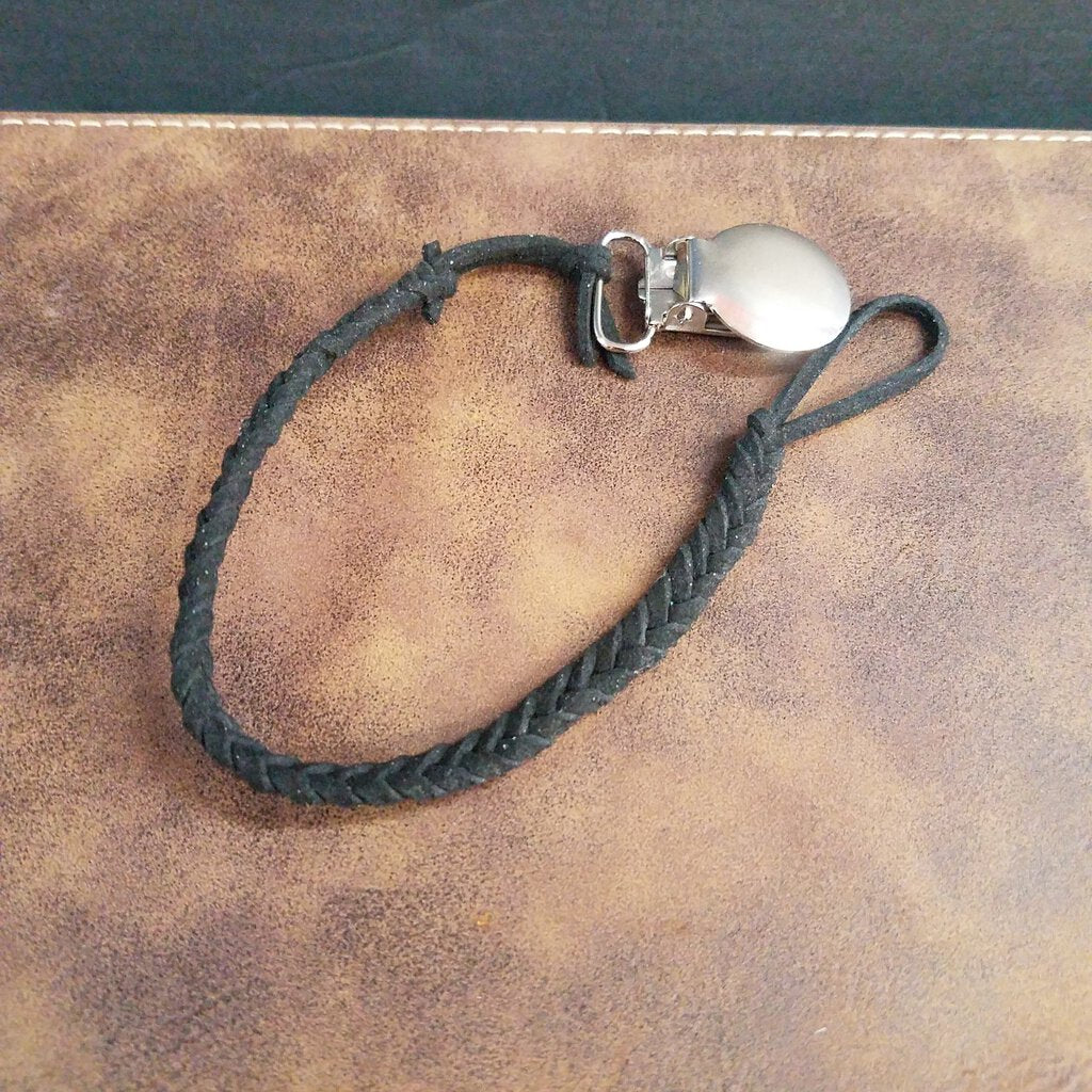 Leather Braided Pacifier Clip