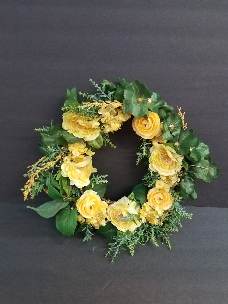 Tree Stems Wreath with Yellow Flower Decor
