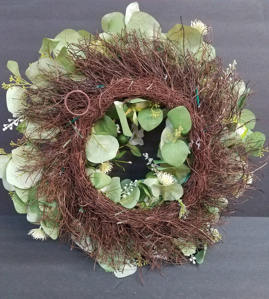 Tree Branch Wreath with Green & White Flower Decor