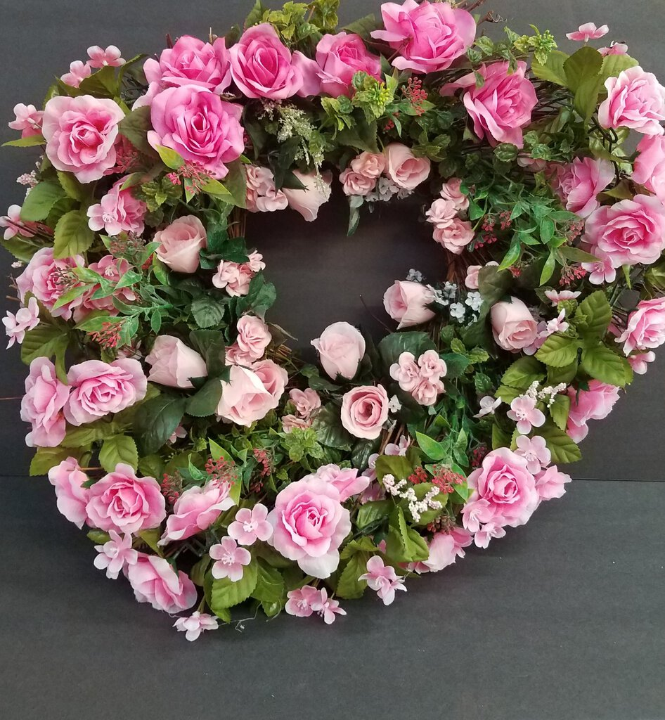 Tree Branch Wreath with Pink Flower Decor