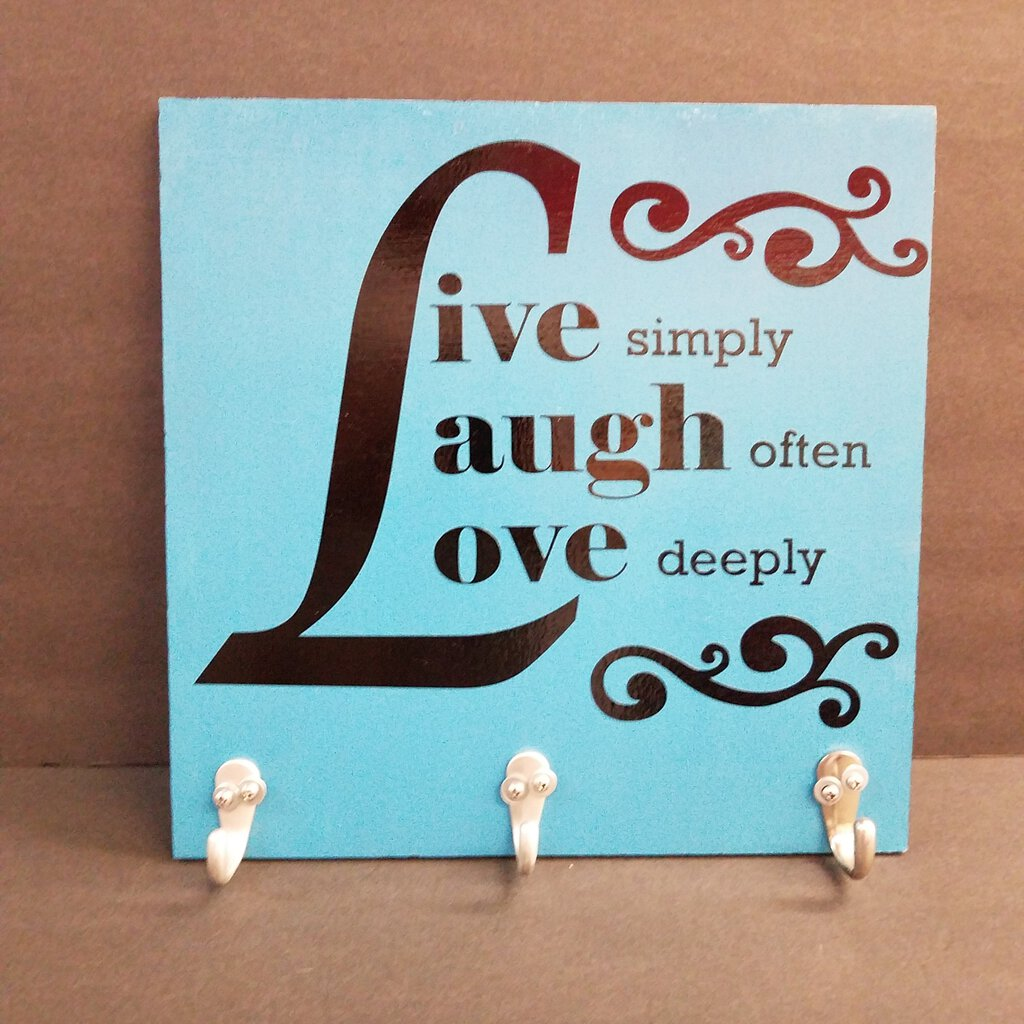 Live Laugh Love Turquoise Sign with Hanging Hooks