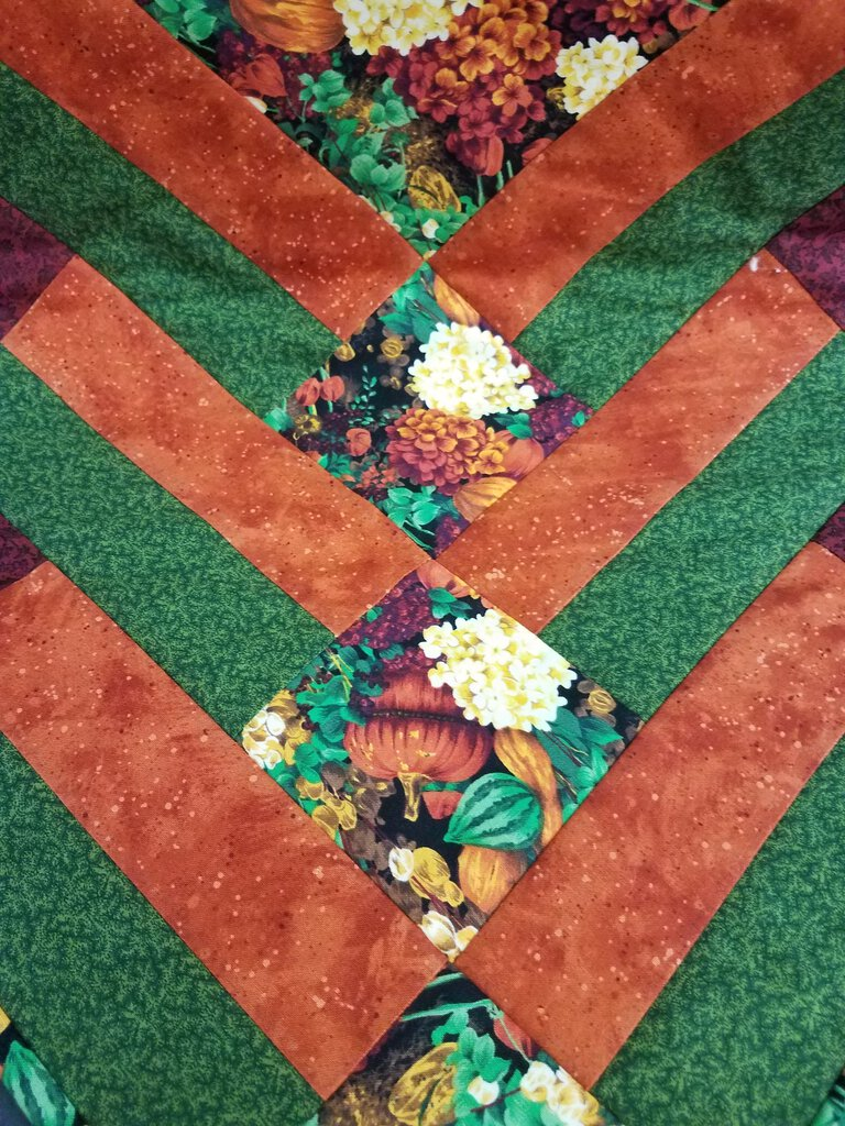 Fall Floral Triangle Patch Work Design Table Runner
