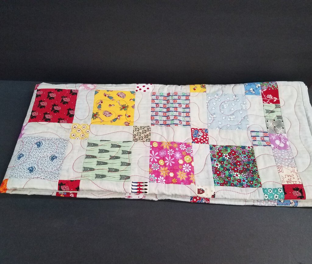47 x 76 Quilted Random Patchwork Pattern Blanket e