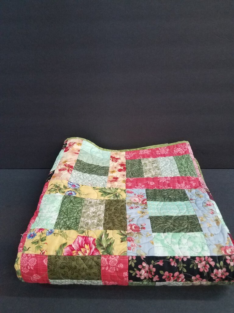 45 x 46 Quilted Floral Patchwork Blanket